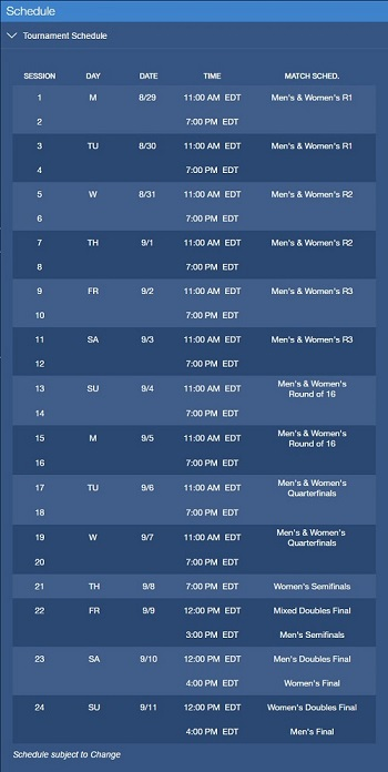 US Open Schedule