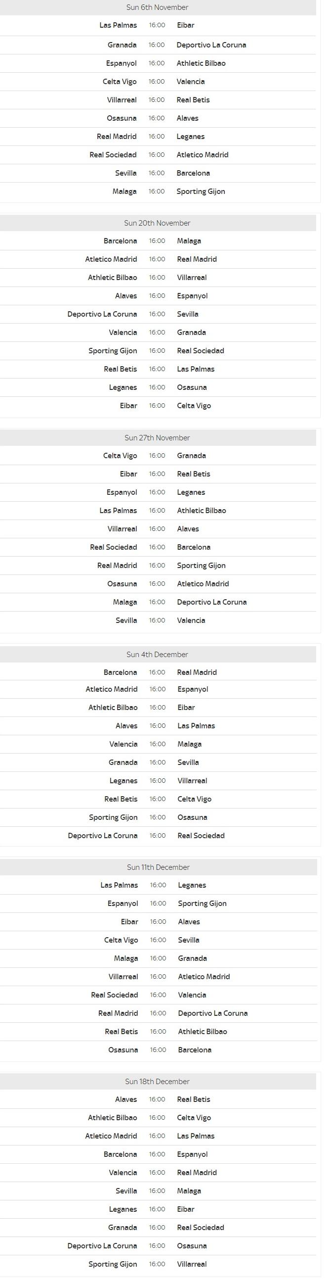 La Liga Schedule