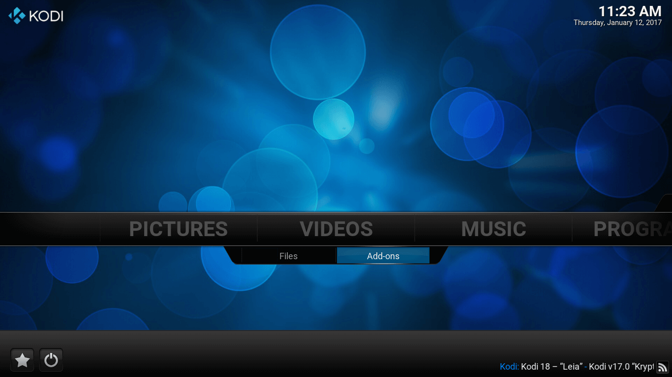 Kodi Main screen. Addons option