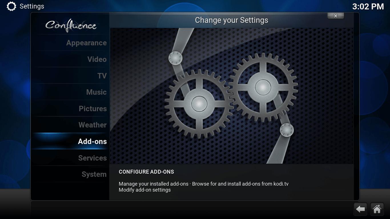 Settings screen. Add-ons option