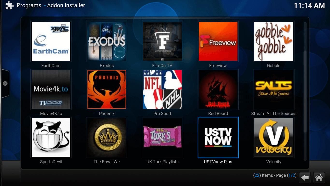 Add-on installer screen. USTV now add-on