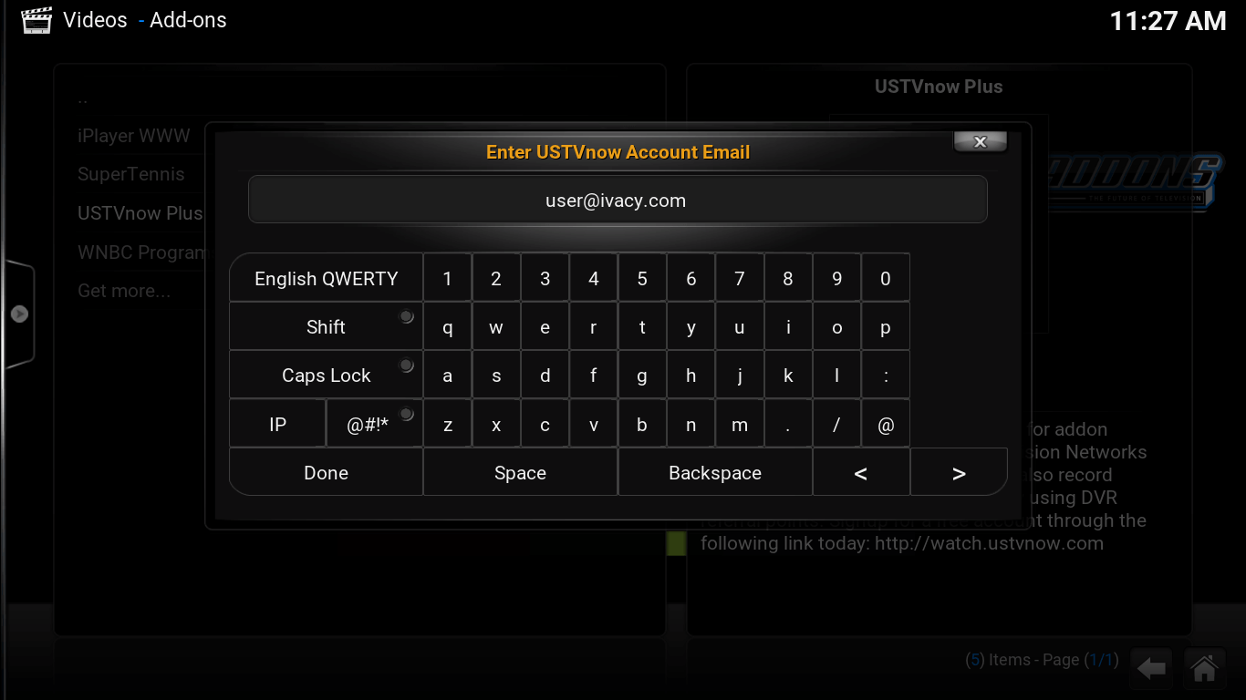 On screen keyboard. USTV now Account