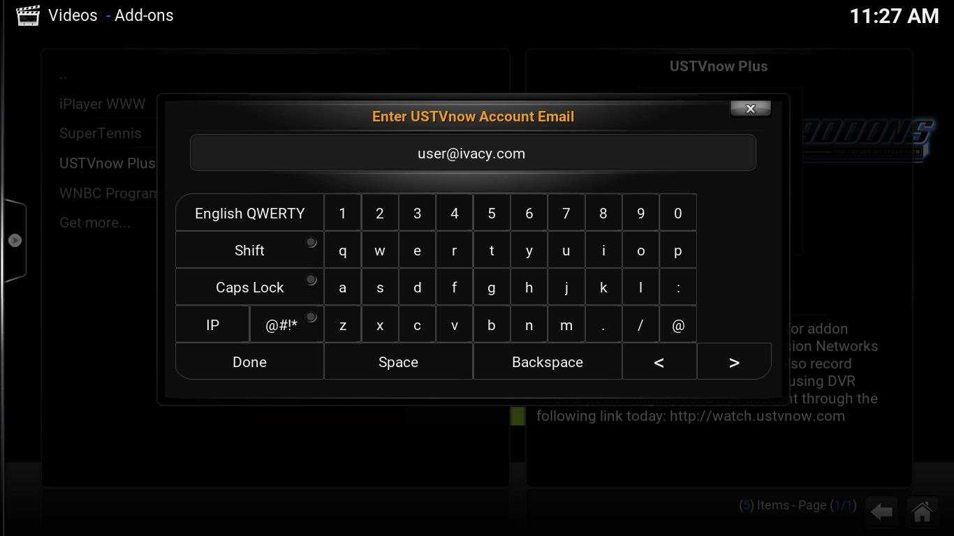 On screen keyboard. USTV now Account