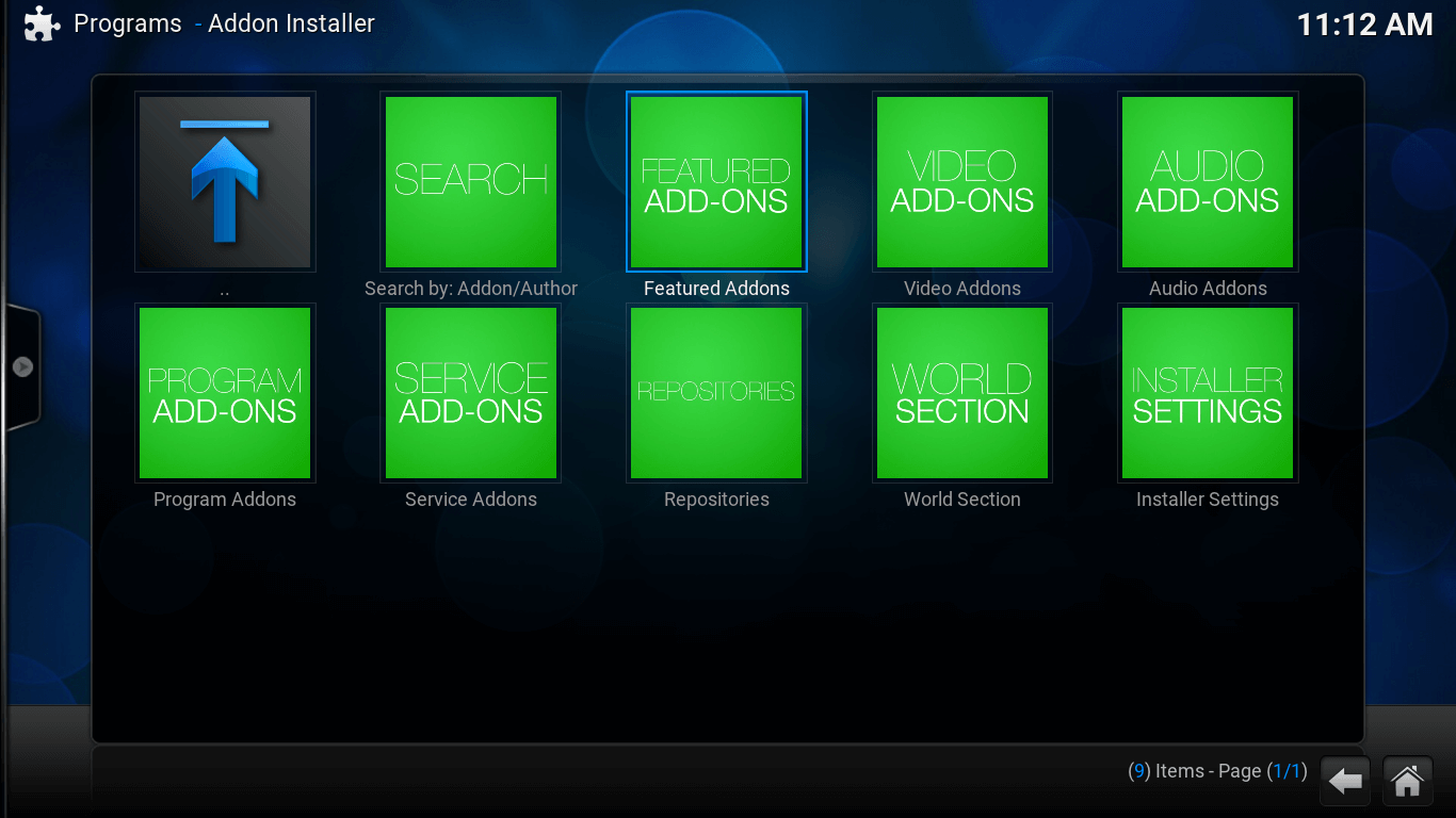 Add-on Installer screen