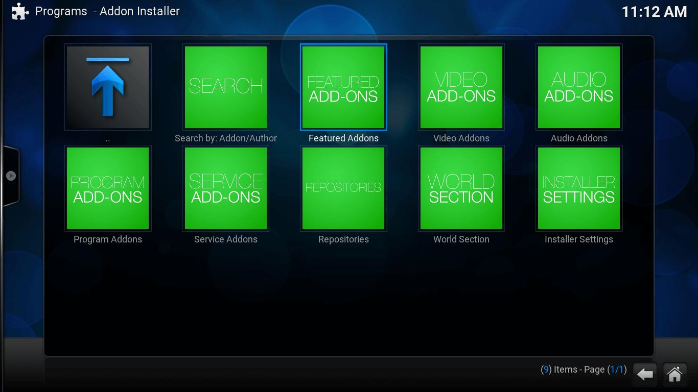 Add-on Installer screen