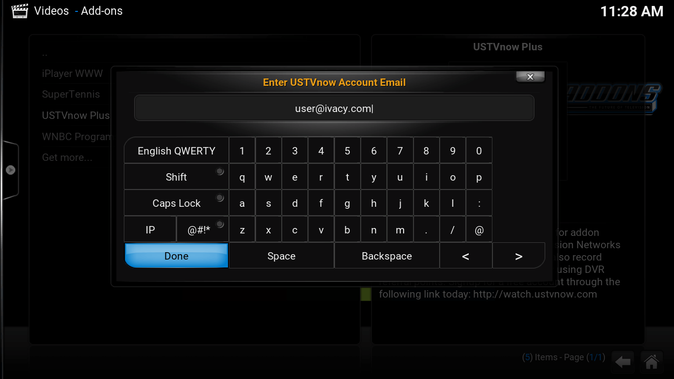 On screen keyboard. Email accont