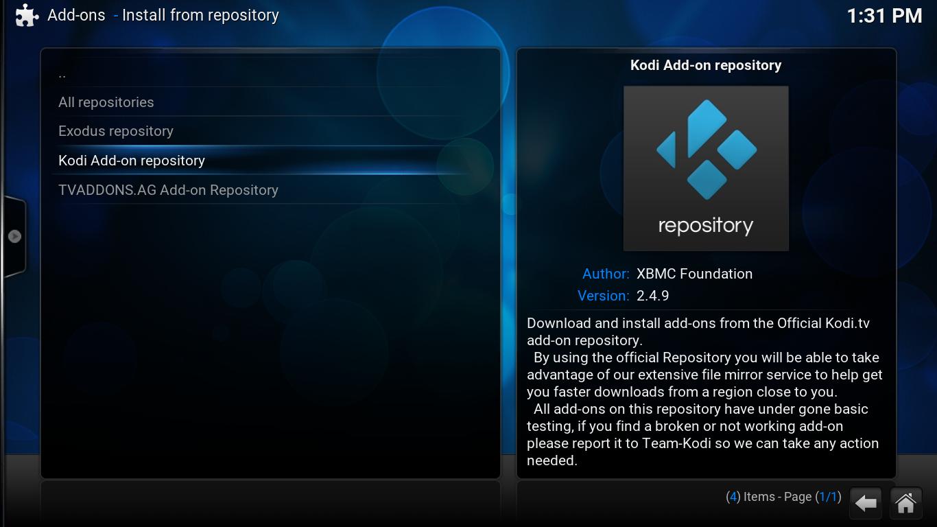 select kodi add-on repository