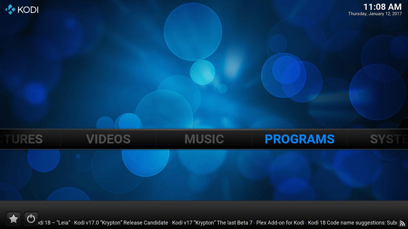 Kodi Main Screen