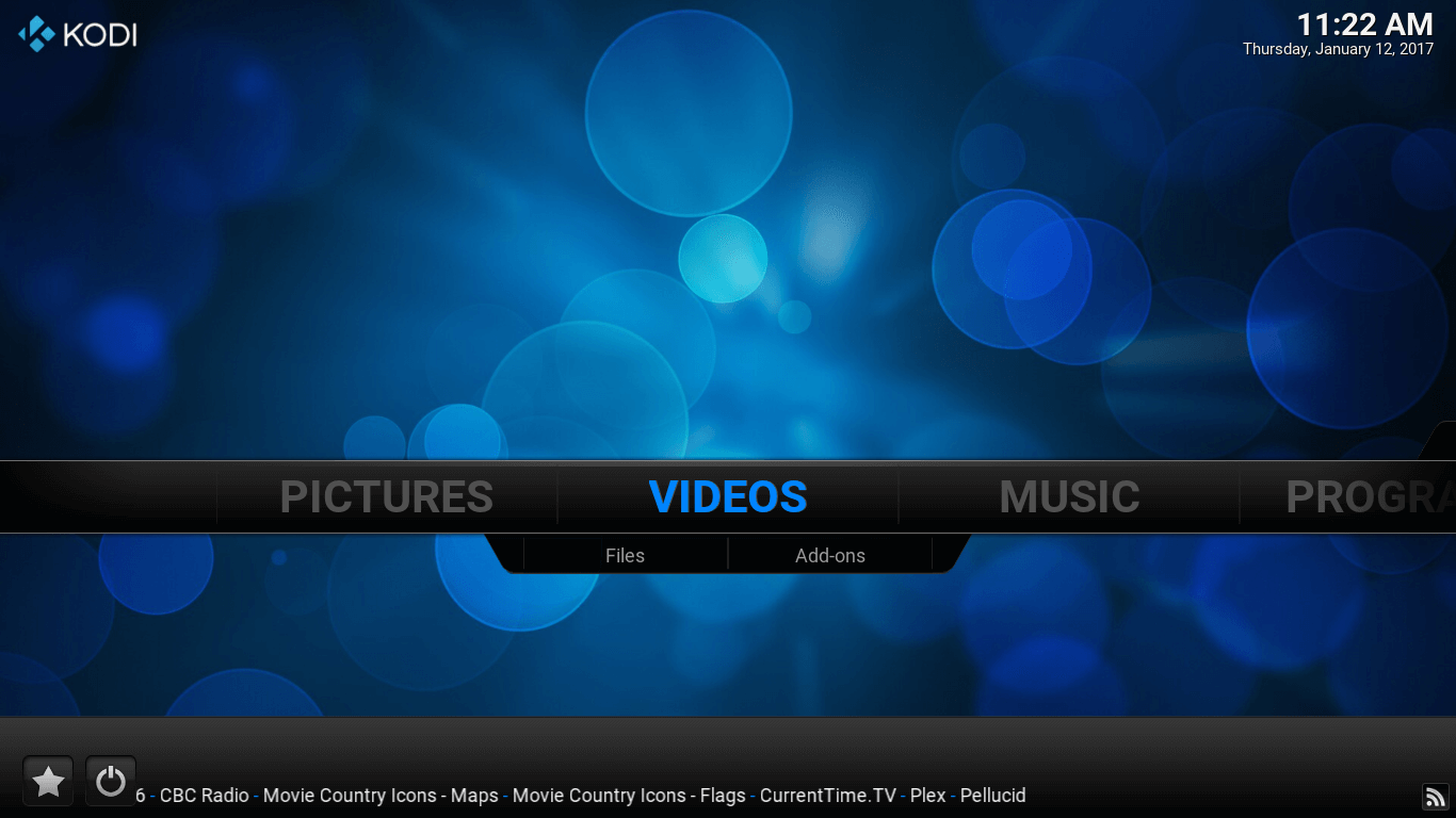 Main screen of Kodi