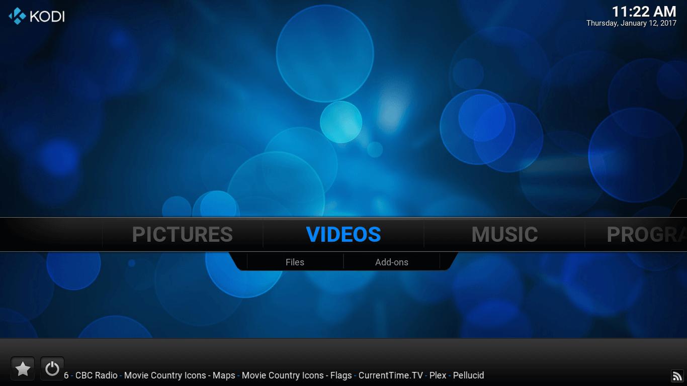 Main screen of Kodi
