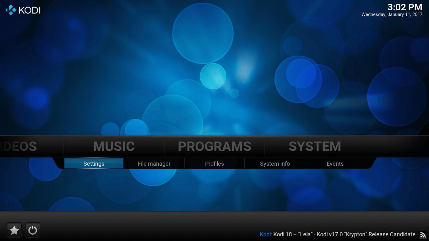 Kodi main screen. Settings option under SYSTEM tab