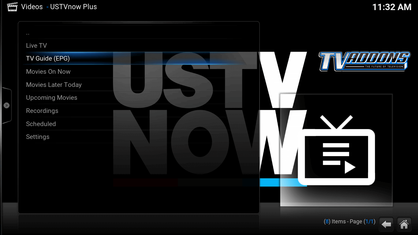Video add-ons. USTV now screen. List