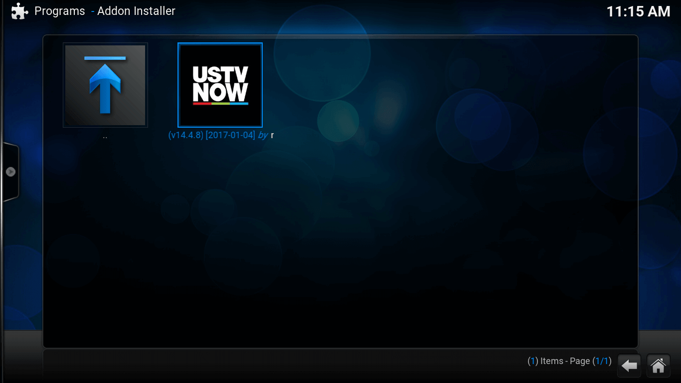 Add-on Installer screen. USTV Now icon