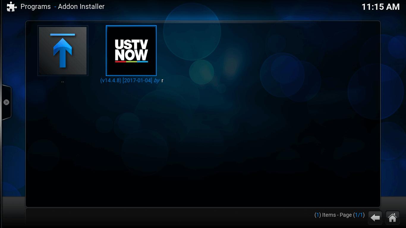 Add-on Installer screen. USTV Now icon