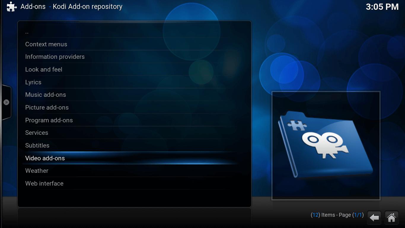 Add-ons screen for Kodi. List includes Video-addons