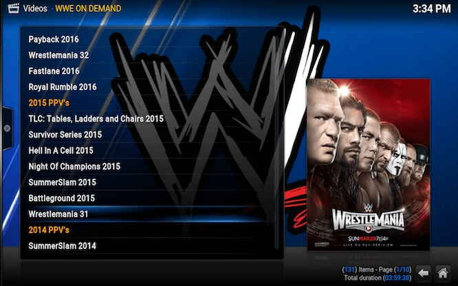 watch WWE on Kodi