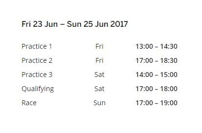 Azerbaijan Grand Prix Live Schedule 2017