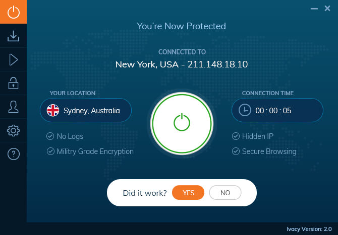 IvacyVPN Ekran Görüntüsü Windows