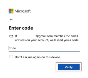enter verification code - screen